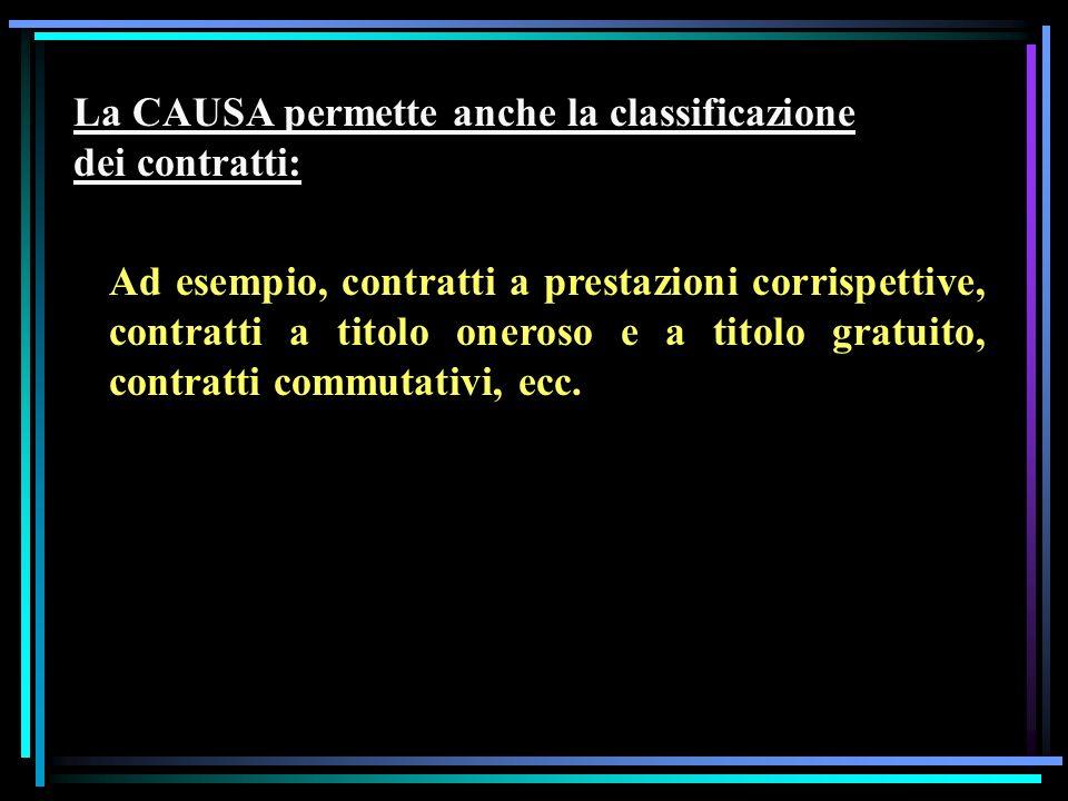 La CAUSA permette anche la classificazione dei contratti: