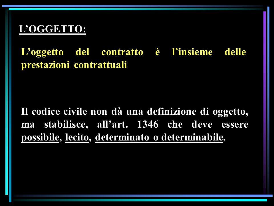 L'OGGETTO: L'oggetto del contratto è l'insieme delle prestazioni contrattuali.
