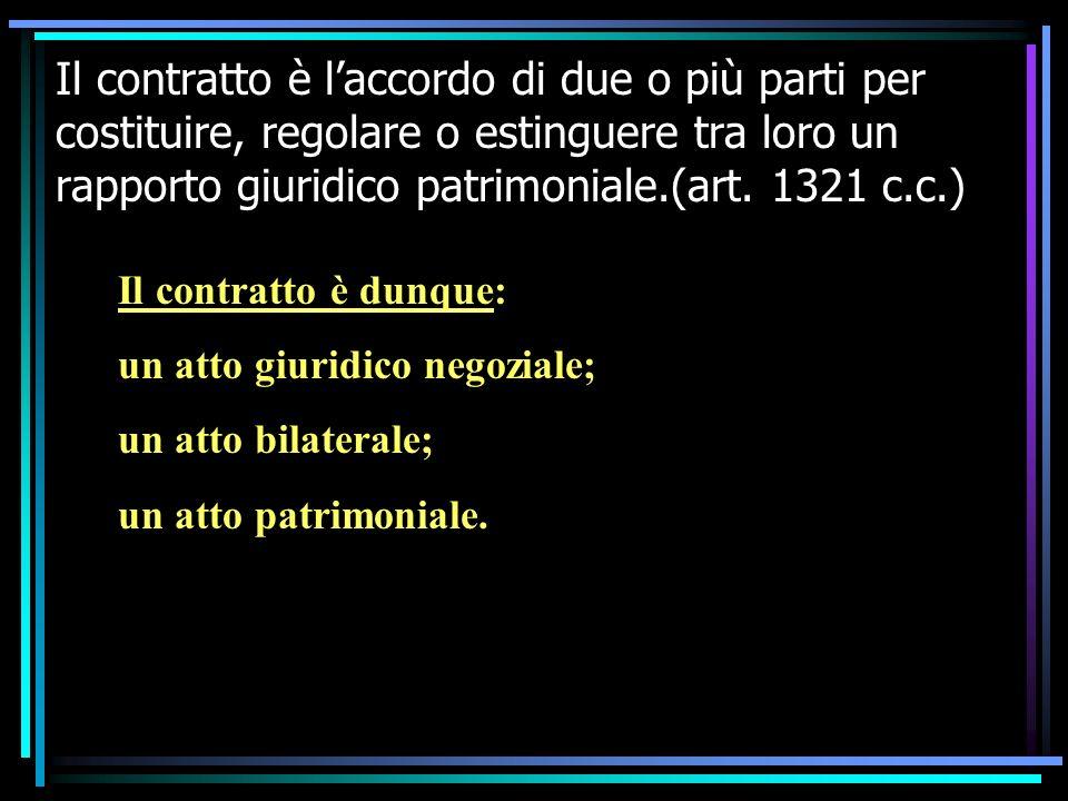 Il contratto è l'accordo di due o più parti per costituire, regolare o estinguere tra loro un rapporto giuridico patrimoniale.(art. 1321 c.c.)