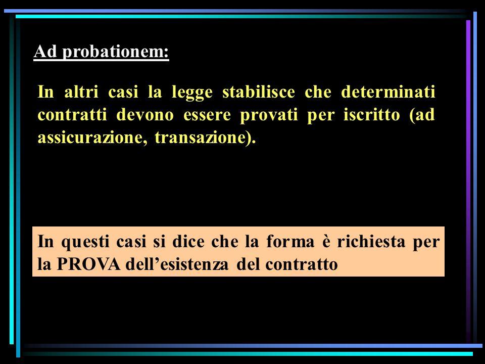 Ad probationem: In altri casi la legge stabilisce che determinati contratti devono essere provati per iscritto (ad assicurazione, transazione).