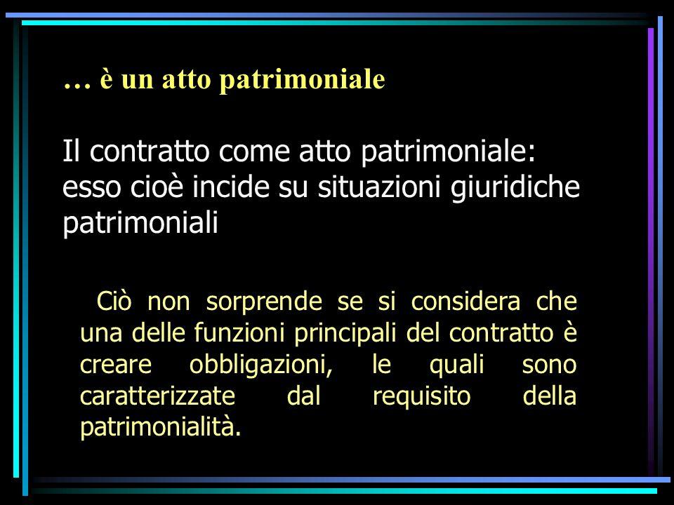 … è un atto patrimoniale Il contratto come atto patrimoniale: esso cioè incide su situazioni giuridiche patrimoniali