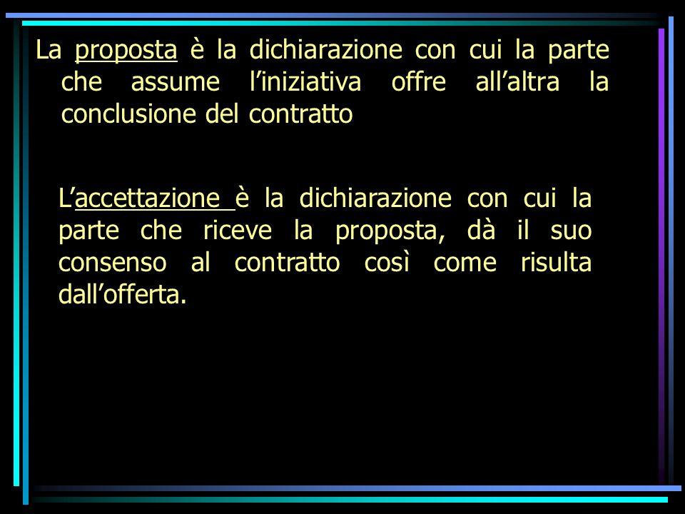 La proposta è la dichiarazione con cui la parte che assume l'iniziativa offre all'altra la conclusione del contratto