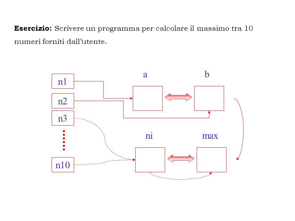 Esercizio: Scrivere un programma per calcolare il massimo tra 10
