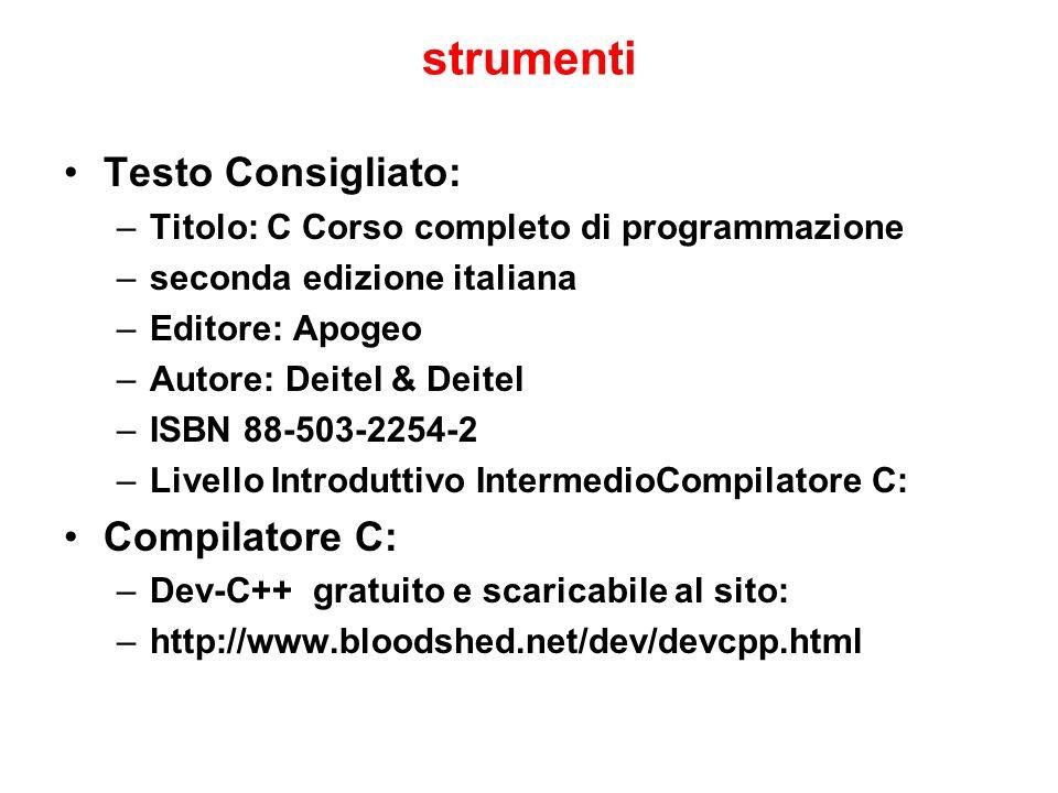 strumenti Testo Consigliato: Compilatore C: