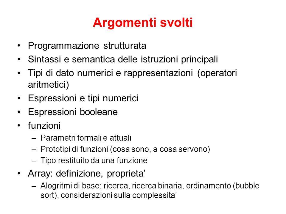 Argomenti svolti Programmazione strutturata