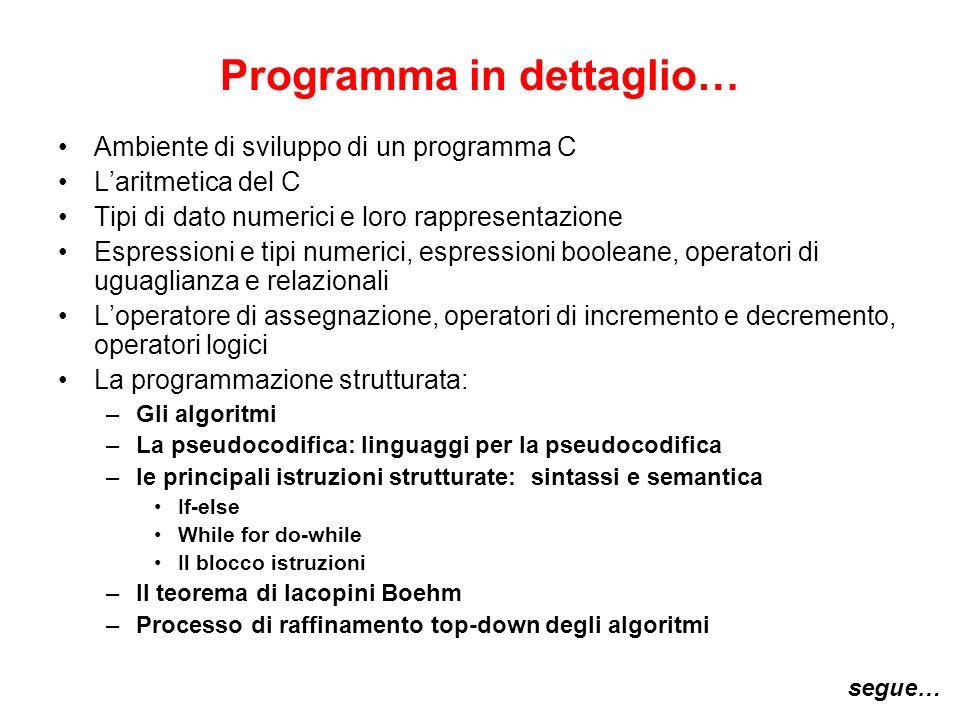 Programma in dettaglio…