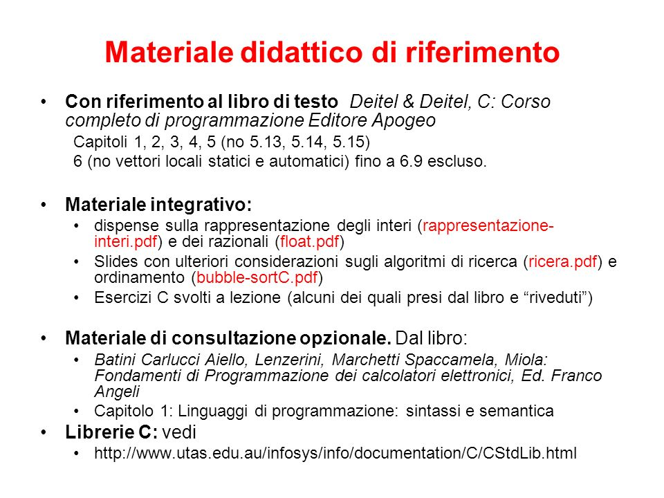 Materiale didattico di riferimento