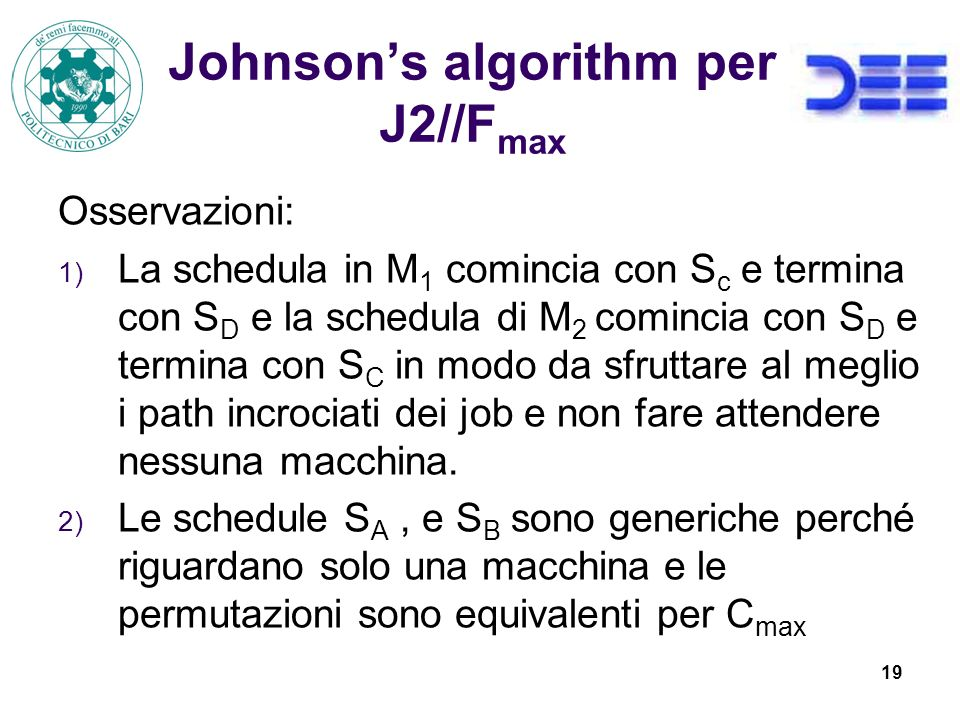 Johnson's algorithm per J2//Fmax