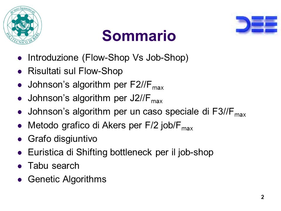 Sommario Introduzione (Flow-Shop Vs Job-Shop) Risultati sul Flow-Shop