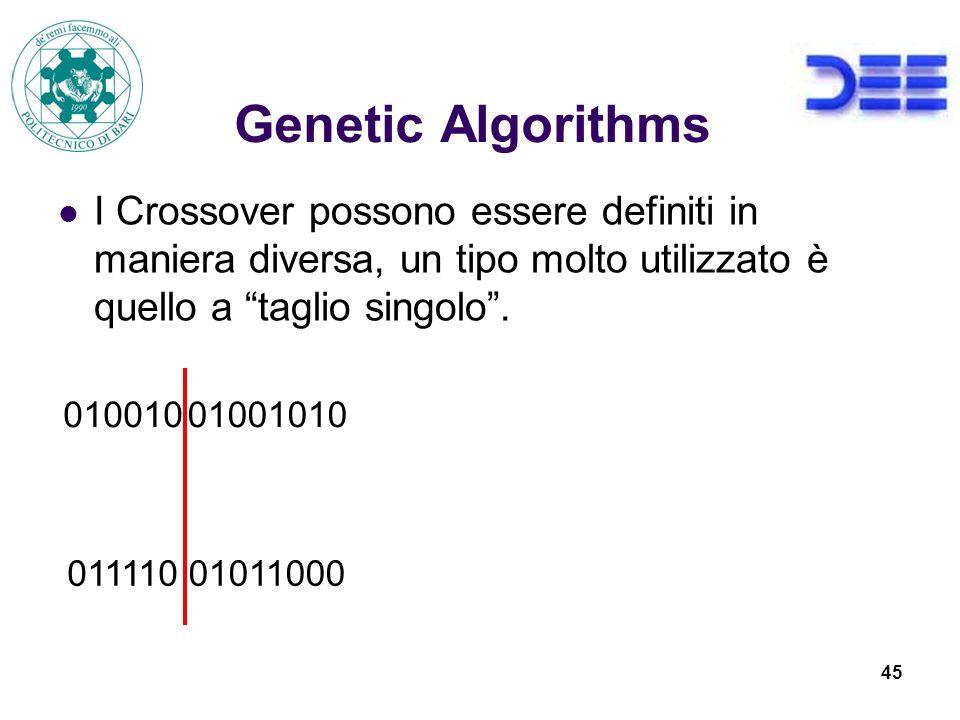 Genetic Algorithms I Crossover possono essere definiti in maniera diversa, un tipo molto utilizzato è quello a taglio singolo .