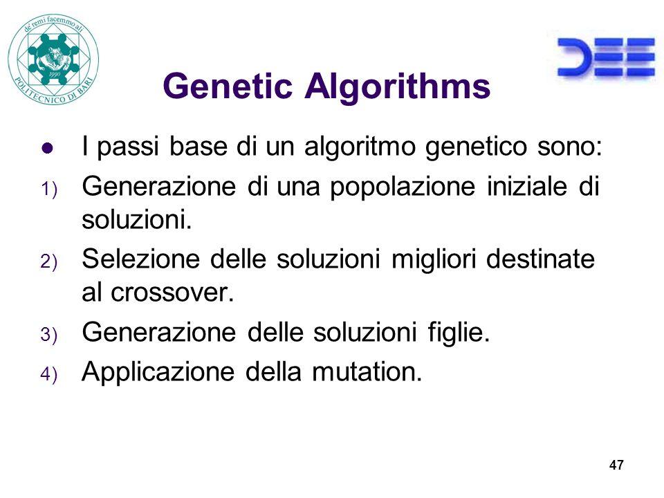 Genetic Algorithms I passi base di un algoritmo genetico sono: