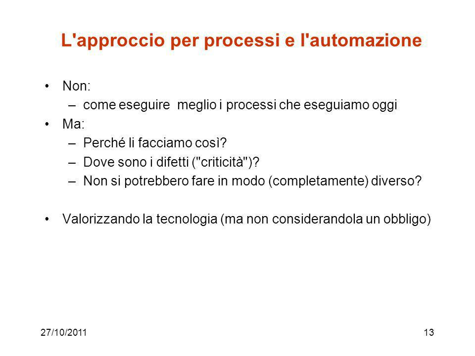 L approccio per processi e l automazione