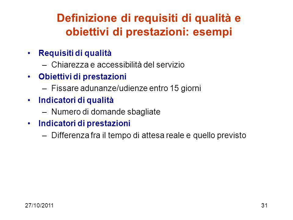 Definizione di requisiti di qualità e obiettivi di prestazioni: esempi