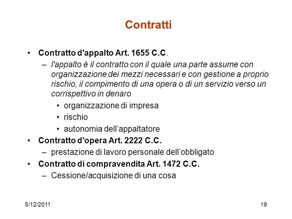 Contratti Contratto d appalto Art. 1655 C.C.