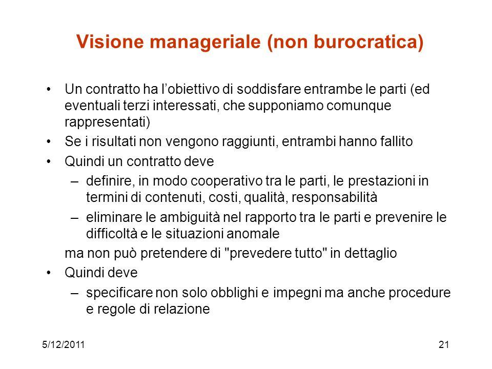 Visione manageriale (non burocratica)