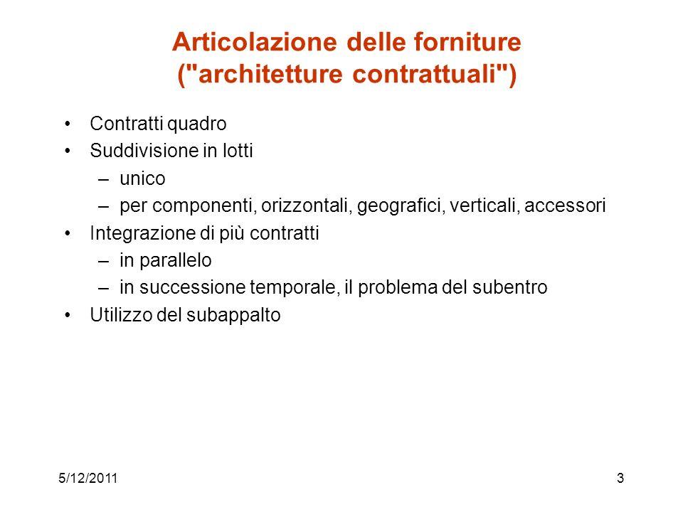 Articolazione delle forniture ( architetture contrattuali )