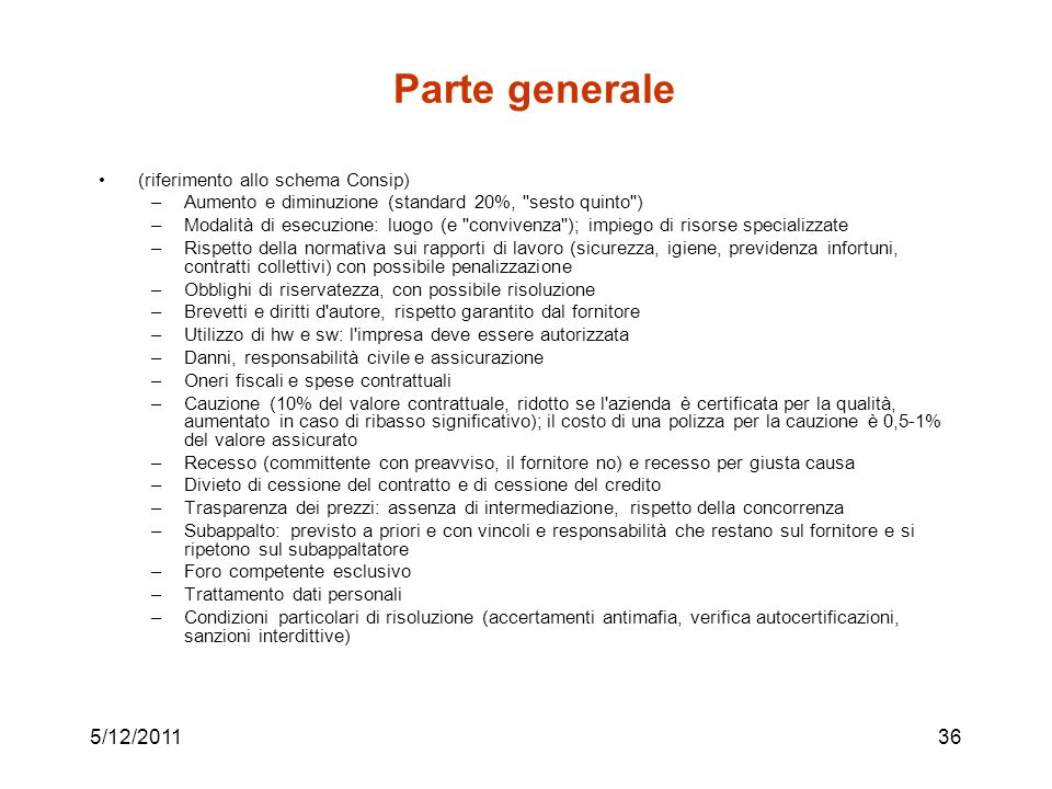 Parte generale 5/12/2011 (riferimento allo schema Consip)