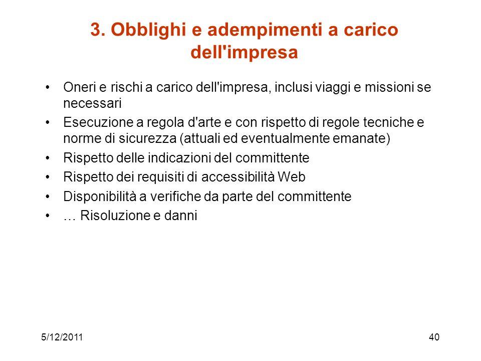 3. Obblighi e adempimenti a carico dell impresa