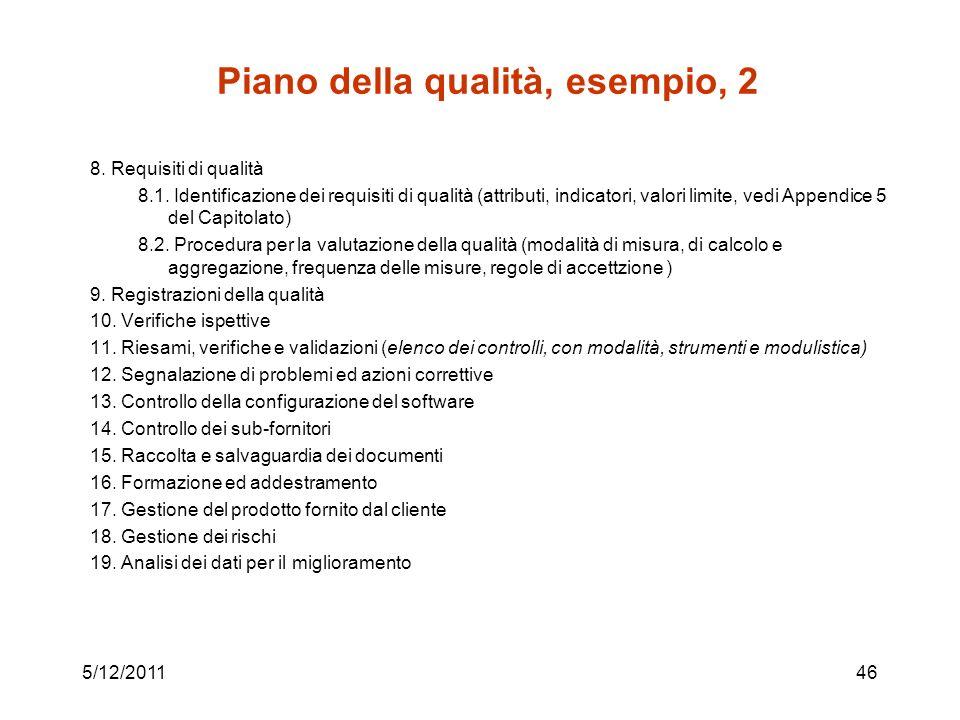 Piano della qualità, esempio, 2