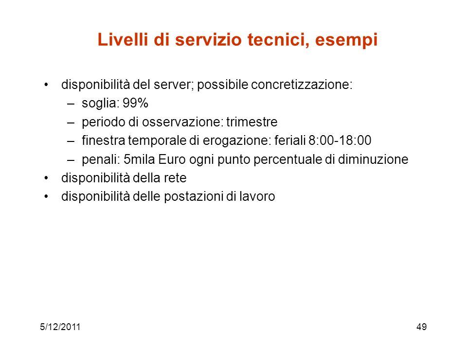 Livelli di servizio tecnici, esempi