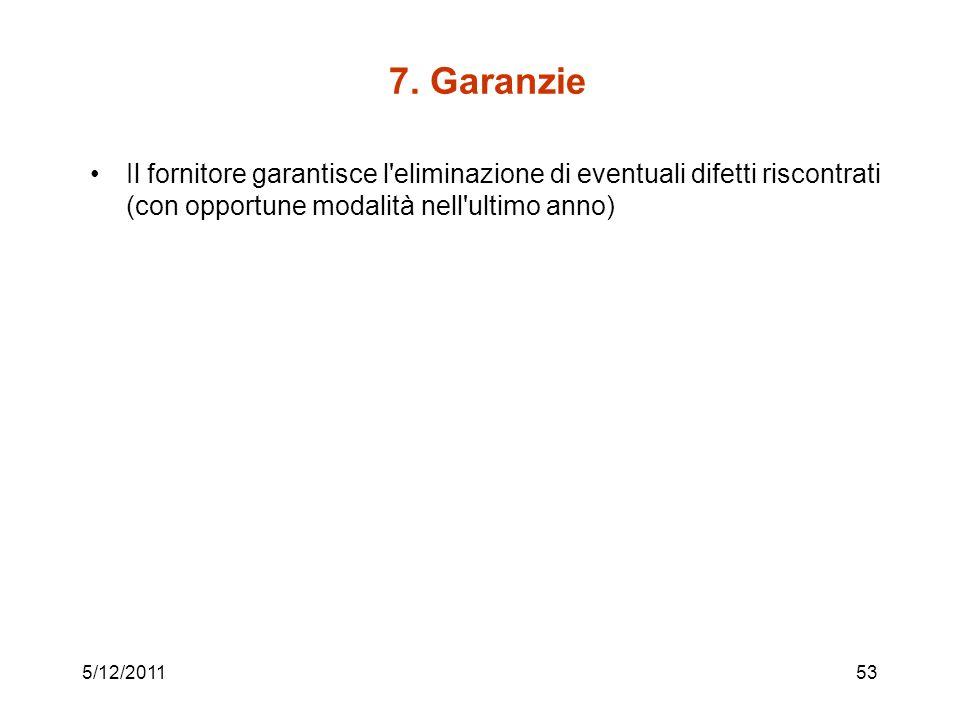 7. Garanzie Il fornitore garantisce l eliminazione di eventuali difetti riscontrati (con opportune modalità nell ultimo anno)