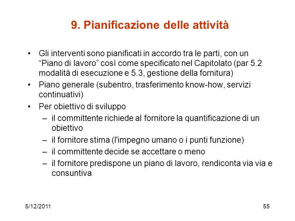 9. Pianificazione delle attività