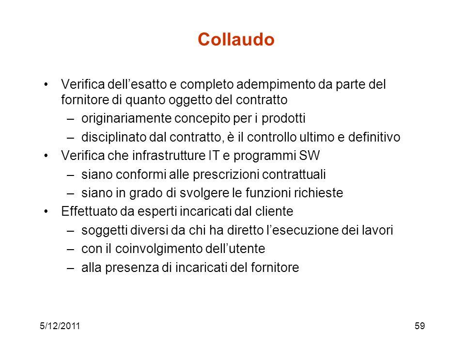 Collaudo Verifica dell'esatto e completo adempimento da parte del fornitore di quanto oggetto del contratto.