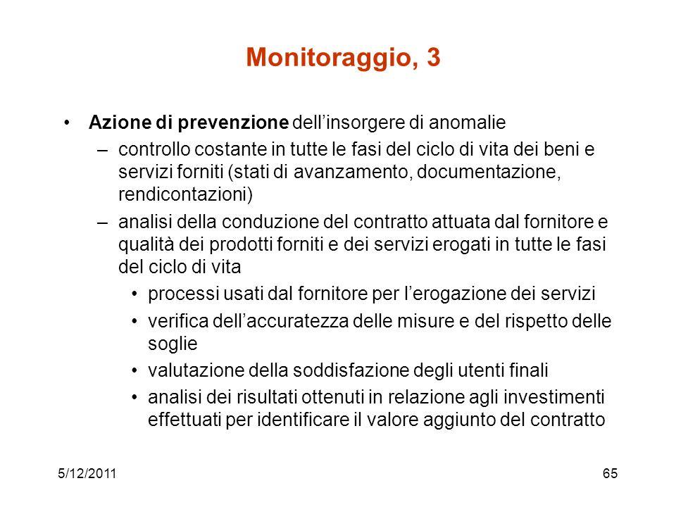 Monitoraggio, 3 Azione di prevenzione dell'insorgere di anomalie