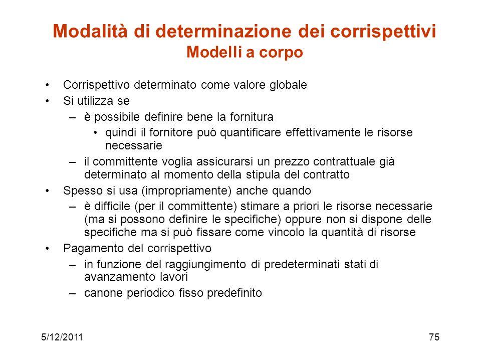 Modalità di determinazione dei corrispettivi Modelli a corpo
