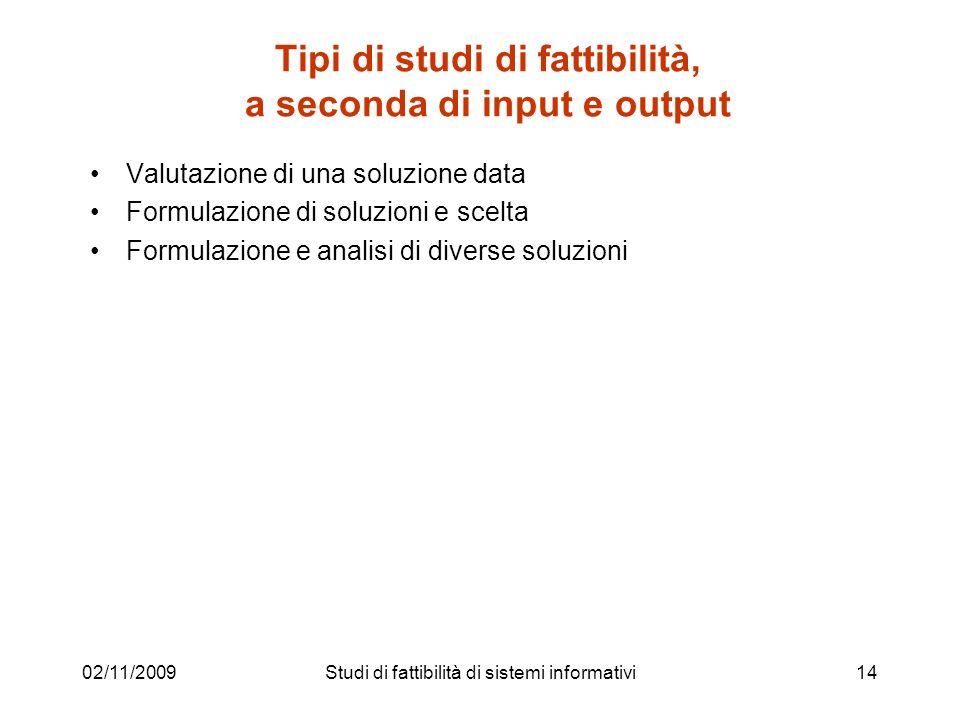 Tipi di studi di fattibilità, a seconda di input e output
