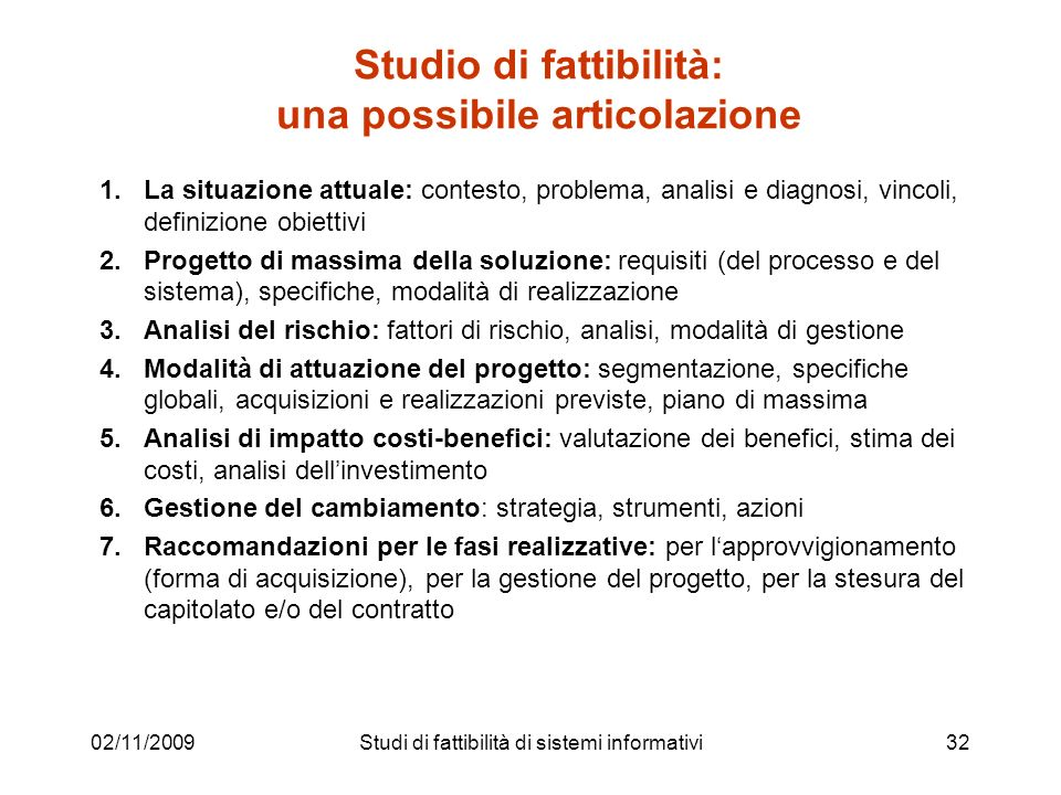 Studio di fattibilità: una possibile articolazione