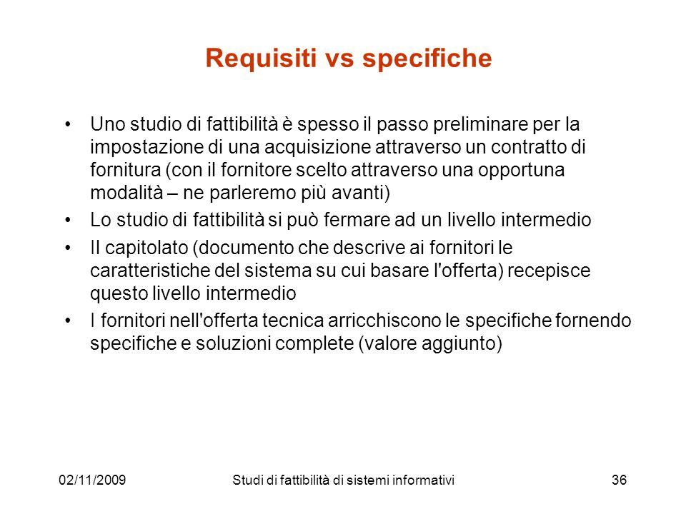 Requisiti vs specifiche