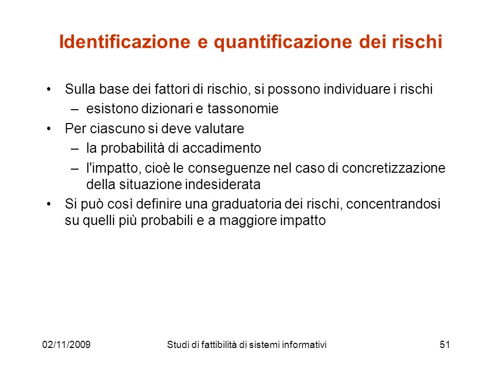 Identificazione e quantificazione dei rischi