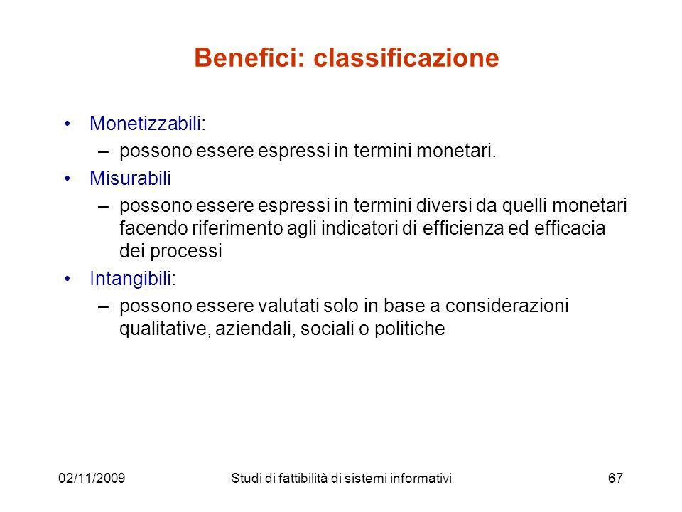 Benefici: classificazione