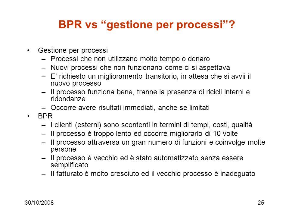 BPR vs gestione per processi