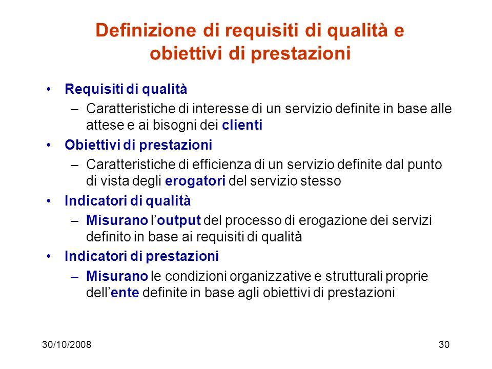 Definizione di requisiti di qualità e obiettivi di prestazioni