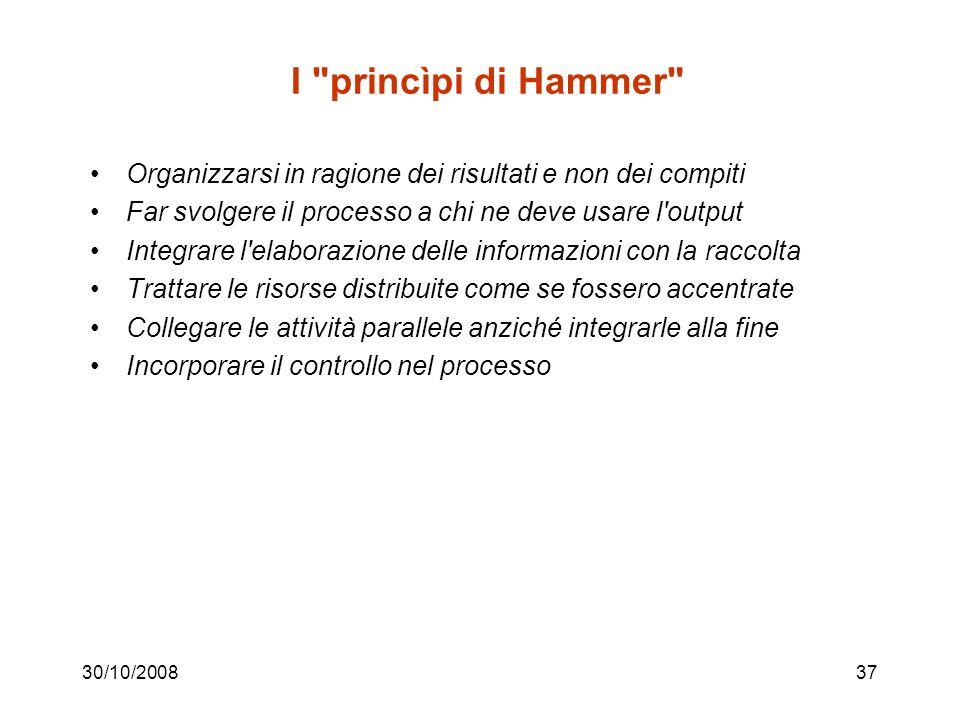 I princìpi di Hammer Organizzarsi in ragione dei risultati e non dei compiti. Far svolgere il processo a chi ne deve usare l output.