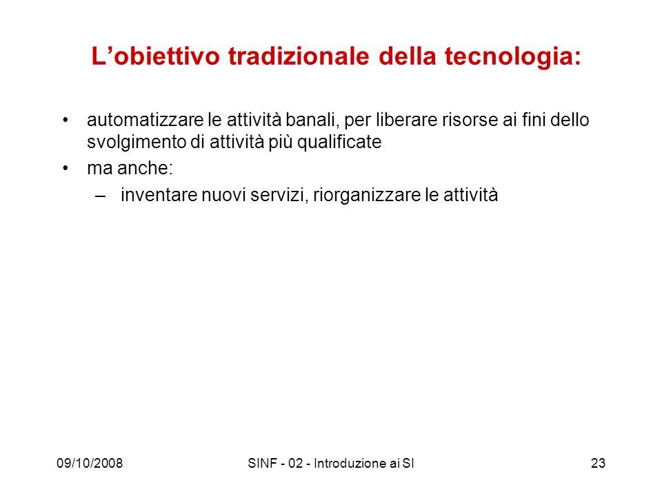 L'obiettivo tradizionale della tecnologia: