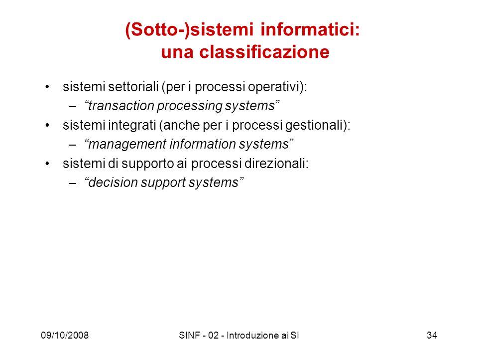 (Sotto-)sistemi informatici: una classificazione