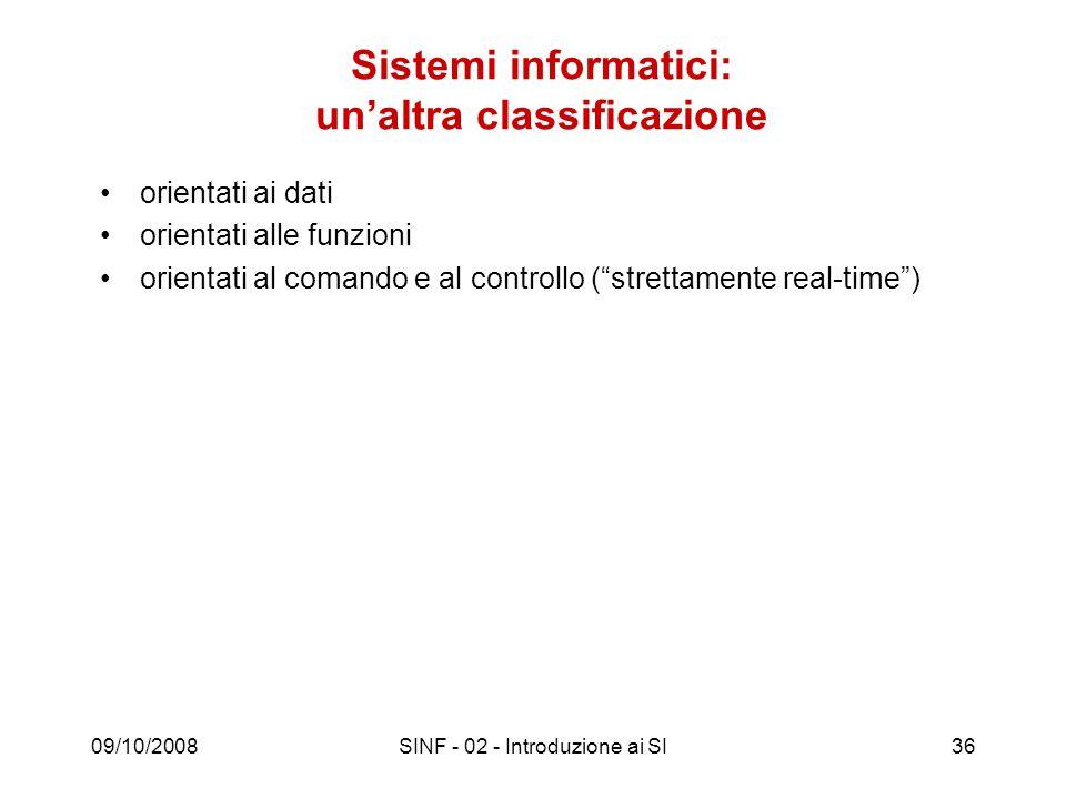 Sistemi informatici: un'altra classificazione