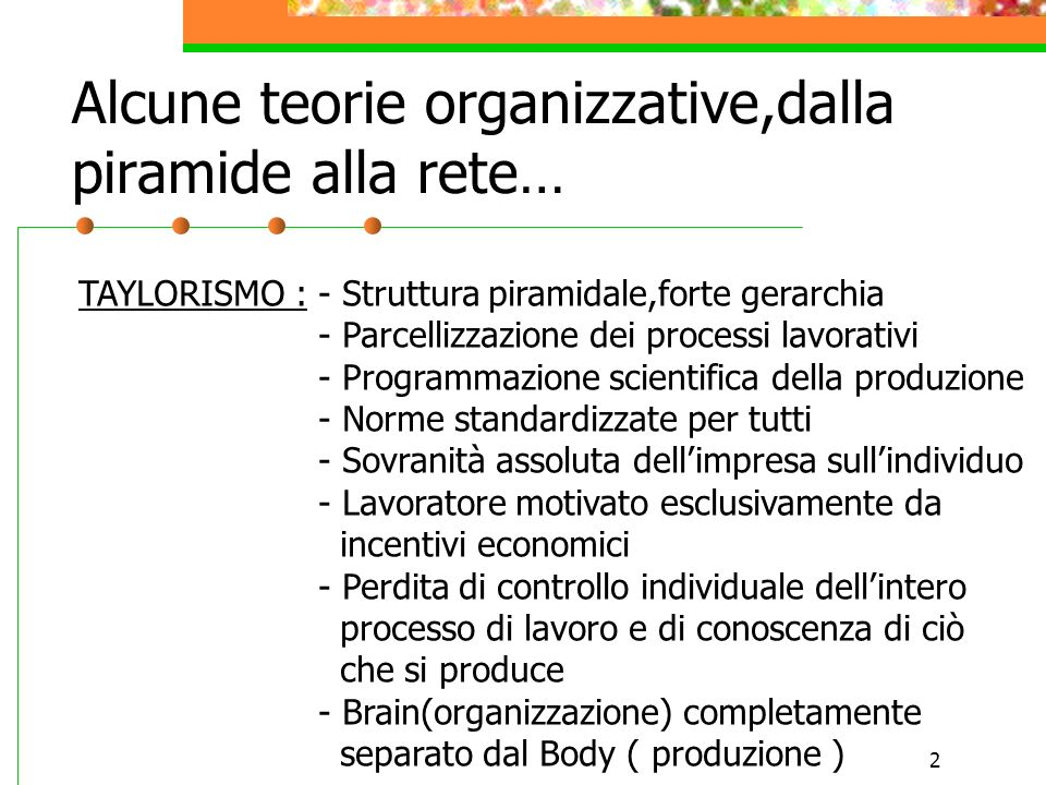 Alcune teorie organizzative,dalla piramide alla rete…
