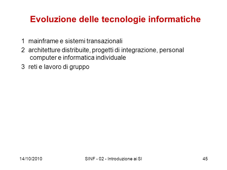 Evoluzione delle tecnologie informatiche