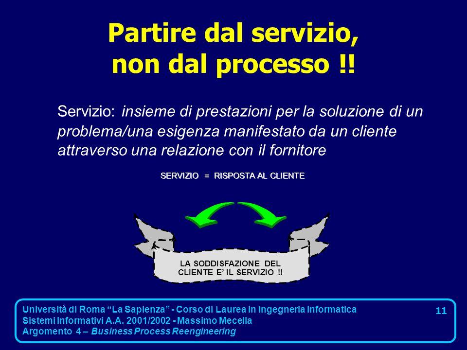 Partire dal servizio, non dal processo !!