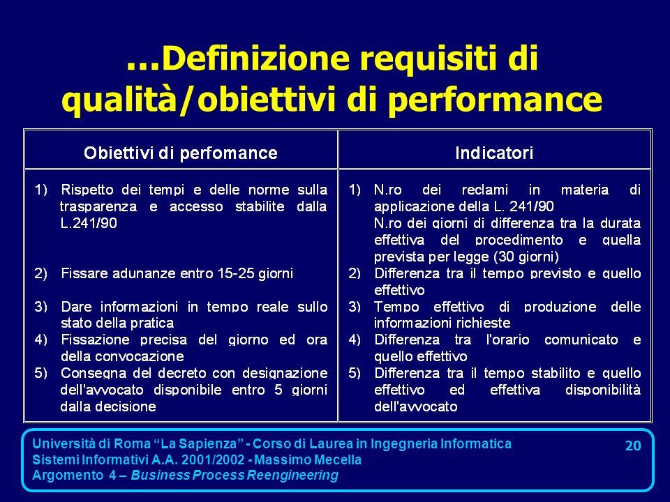 ...Definizione requisiti di qualità/obiettivi di performance