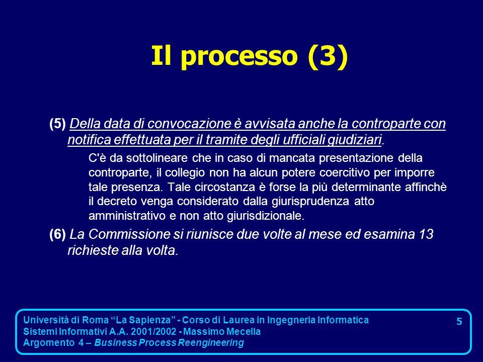 Il processo (3) (5) Della data di convocazione è avvisata anche la controparte con notifica effettuata per il tramite degli ufficiali giudiziari.