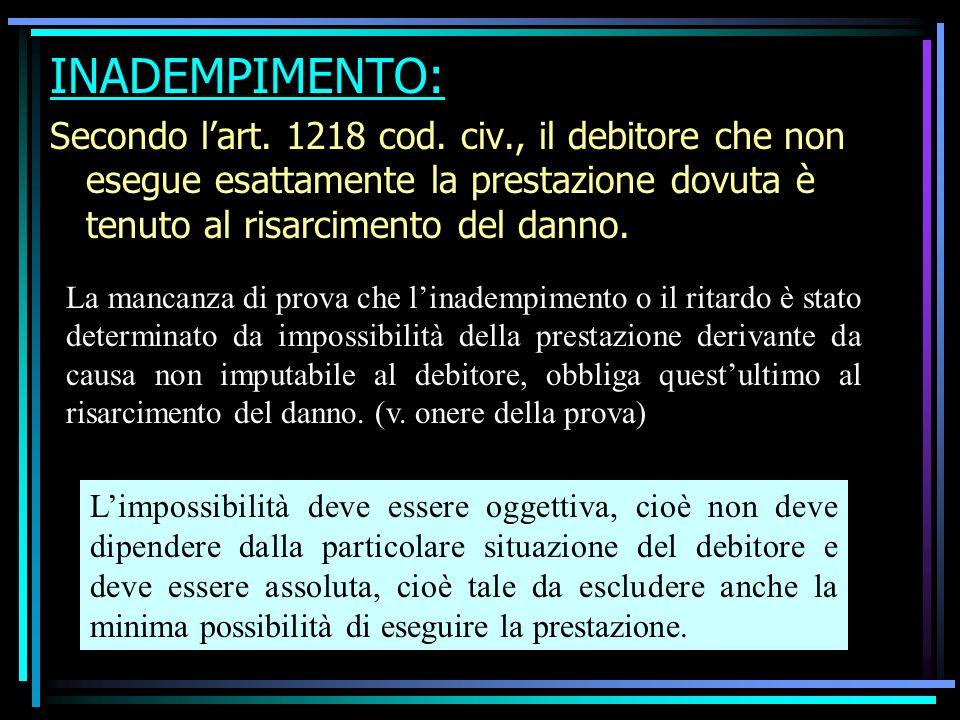 INADEMPIMENTO: Secondo l'art. 1218 cod. civ., il debitore che non esegue esattamente la prestazione dovuta è tenuto al risarcimento del danno.