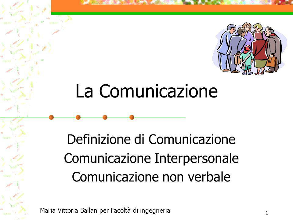 La Comunicazione Definizione di Comunicazione