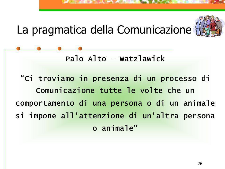 La pragmatica della Comunicazione