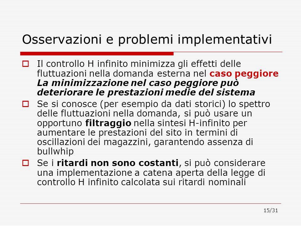 Osservazioni e problemi implementativi