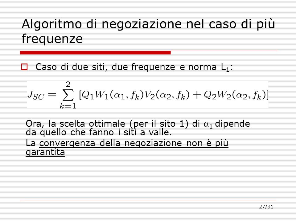 Algoritmo di negoziazione nel caso di più frequenze